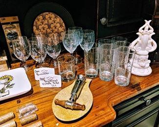 Fleur de lis stemware, decor barware glasses wine glasses