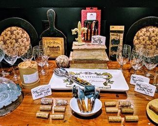 Wine cork place card holders, serving platter and utensils, Fleur de lis stemware, decor barware glasses wine glasses