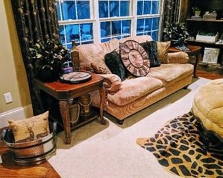 love seat, couch, end tables living room furniture