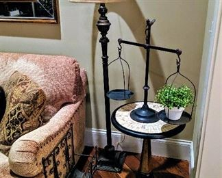 floor lamp table and scale