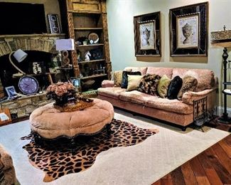 living room furniture couch art floor lamps