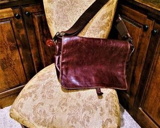 chair leather laptop messenger bag