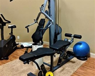 home gym, fitness center, weight bench, weights