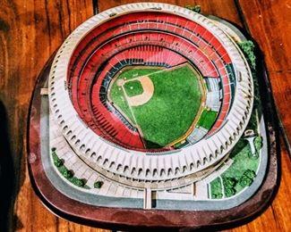 Cardinals baseball and Blues hockey stadium sculptures