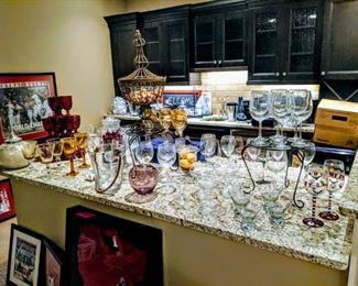 wine glasses and barware