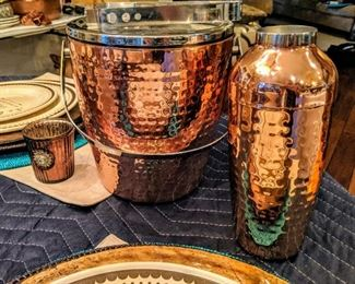 hammered copper ice bucket and bar shaker