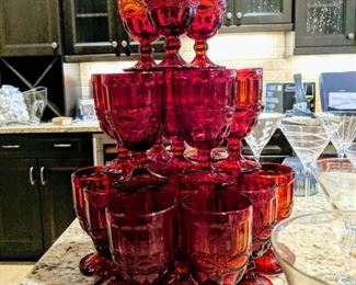 Wine glasses ruby red