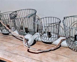 light fixture rustic wire basket farm house
