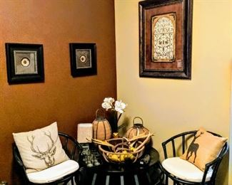 chairs, table, coffee table, rustic décor, art etc.