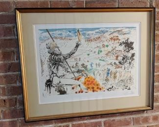 Pencil signed and numbered Salvador Dali limited edition lithograph