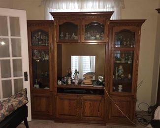 """Large China Cabinet / Entertainment Center Center cabinet: 81"""" tall x 43 1/2"""" wide x 2' deep Side cabinets: 76"""" tall x 23"""" wide x 18"""" deep  Side pieces do separate from center."""