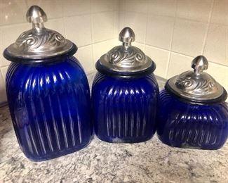 Cobalt Blue and Pewter Canister Set
