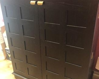 CRATE & BARREL ROLLING BAR CABINET - DOORS OPEN TO REVEAL SHELVES AND GLASS STORAGE