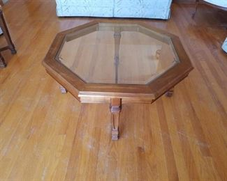 """Octagon coffee table, solid walnut frame and beveled glass top.  36"""" diameter."""