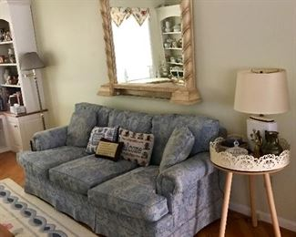 Blue Motif Couch, Occasional Table