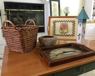 Trout Tray Set, Birdhouse, Basket, Faux Bird Nest