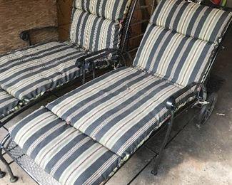 Wrought iron deck lounge chairs w/cushions & wheels - VERY NICE