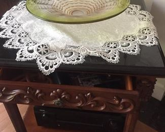 Carved wood side table, hand-blown glass-lots of doilies