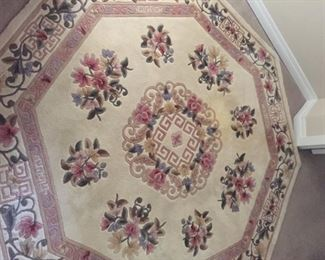 Octagonal Chinese pure wool carved Aubusson carpet