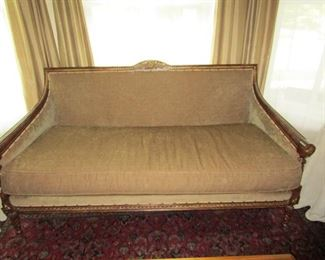 Paul Roberts Olive Chenille Sofa - $250 (next photo shows sofa with 7 included pillows)