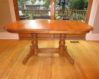 Double Pedestal Kitchen Table (2 leaves, seats 8) with 6 Chairs $150