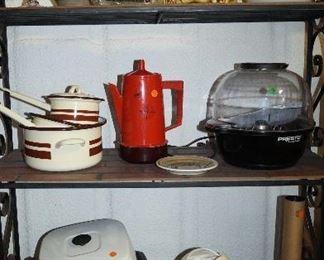 pots and pans, vintage orange coffee pot, popcorn popper, electric skillet,