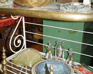 aluminum bowl, cookie jar, décor, glass set