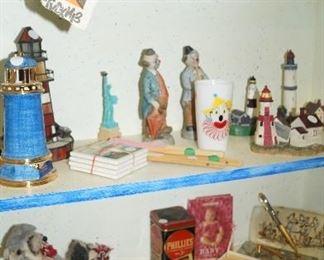 clowns, perfume bottles, decor