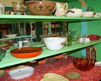bowls, Pyrex, casseroles