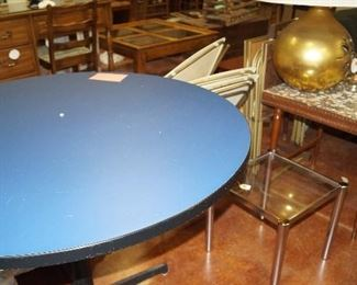 round table, end tables, lamp
