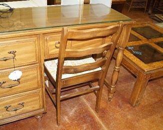 desk with chair, coffee table