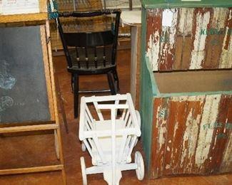 wood holder, decorative wagon, vintage child chalk board