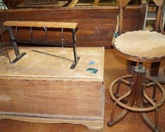 wood box, stool, paper holder