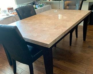 Quartz Dining table with Matching side table/hutch
