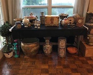 Lots of oriental vases, pots, bowls....