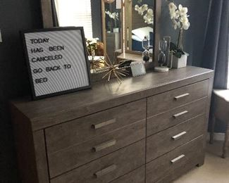 dresser/mirror still has tags inside - goes w/ bed and night stand