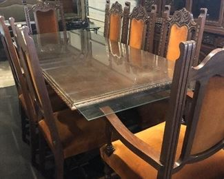 long glass topper -for mid century dining room set- leave is inside and pops up- glass fits when open -all wood hand carved
