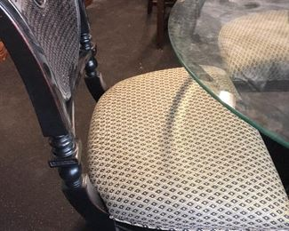 round glass table and 4 chairs-  needs little tlc