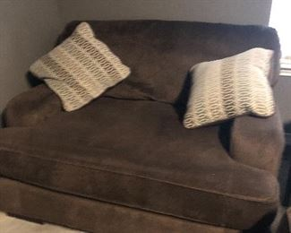 brown fabric furniture- have grouping of this  have large sofa- loveseat and oversized chair - and pillows go with