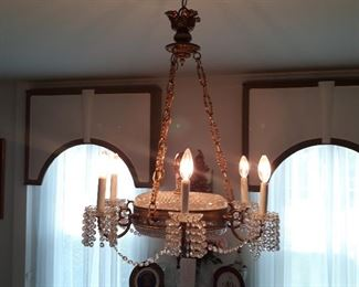 Quality made. Vintage chandelier.  Brass and crystal .