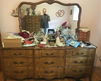 . . . a matching French Provincial dresser w/mirror -- part of a great set.