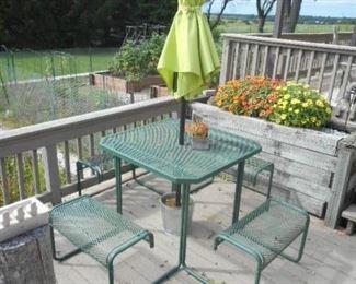 Patio bench seat setup with umbrella