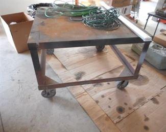 steel/metal work table on wheels
