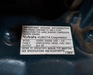Bobcat.   Kubota engine information
