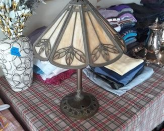 Bradley & Hubbard  Table lamp Both shade and base are marked