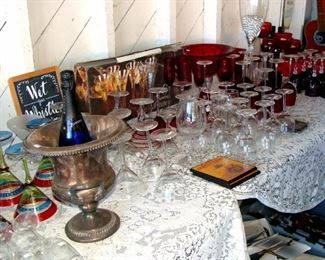 Stemware, wine glasses, red wine, white wine, margarita, Champagne flutes, cocktail glasses, Martini glasses, Ruby red glass ware, punch bowl, vintage Silver Plate, wine bucket, wine chiller, Champagne bucket
