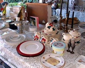 Vintage china, Quiche pans, tart pans, hors d'oeuvre plates, candelabras, wine bucket, champagne bucket, chip and dip, Canape sets, meat platters, Avon Cape Cod Ruby Red collection