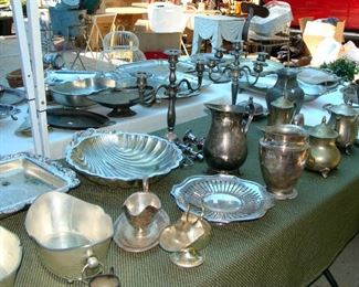 Vintage Silver Plate, Pewter, pitchers, teapot, coffee pot, serving pieces, serving trays Candelabras, vases