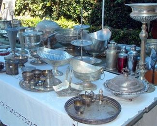 Vintage Silver Plate, Pewter, pedestal wine stands, covered serving bowls, vases, cream and sugar, bread basket, tiered tidbit, serving trays, platters, pedestal compote, fruit stand, Repousee