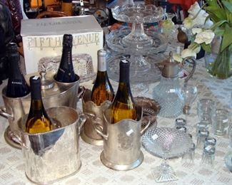 Silver Plate, wine bucket, champagne bucket, wine bottle coaster, buckets, Crystal. cake stands, cake pedestal, vintage glassware, serving pieces, cocktail glasses